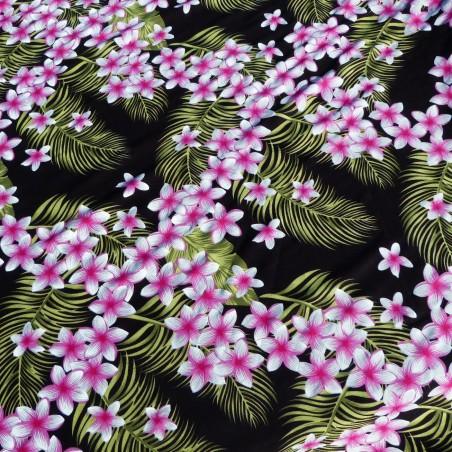 Tissu noir frangipane forest