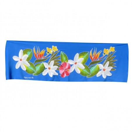 Mini paréo Fleurs de Tahiti bleu
