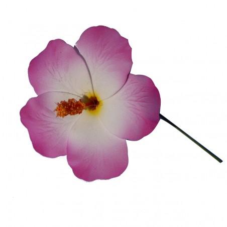 Hibiscus Blanc et violet sur tige métal