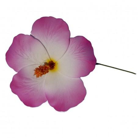 Hibiscus Blanc et violet sur tige métale