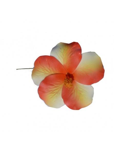 Hibiscus marbré rouge sur tige métale