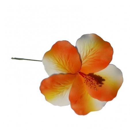 Hibiscus marbré orange sur tige métale