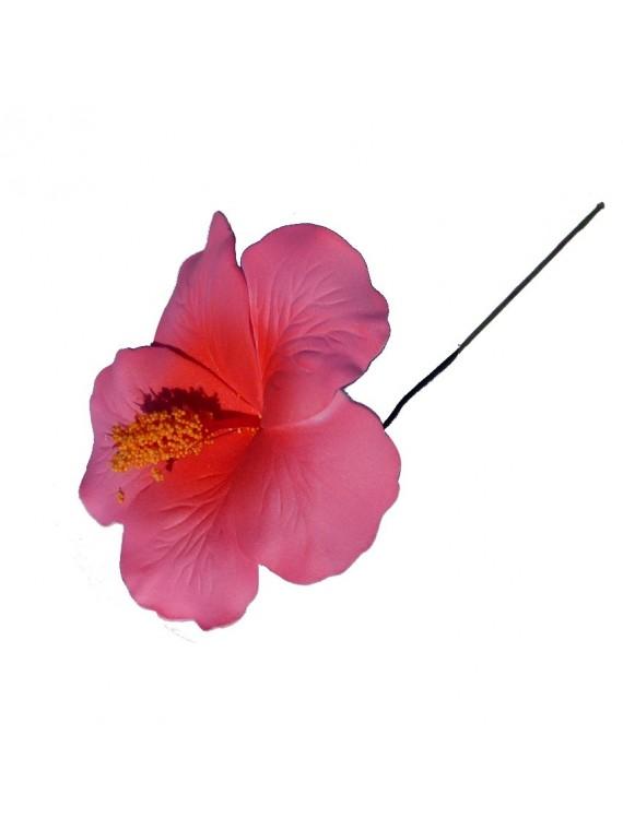 Hibiscus rose sur tige métale