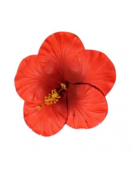 Très gros Hibiscus rouge sur tige métal
