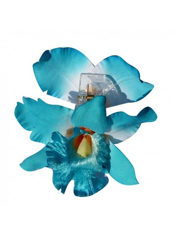Pinces à cheveux bleu croco orchidée